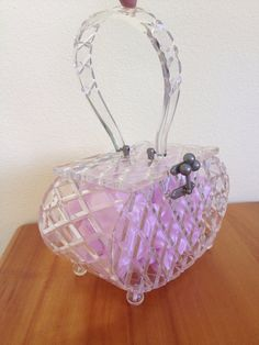 Vintage 1950s diamond pattern carved lucite purse handbag clear on Etsy, $250.00