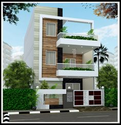 22 feet by 45 Modern House Plan With 4 Bedrooms Modern House Exterior bedrooms feet house modern Plan Bungalow House Design, House Front Design, Small House Design, Modern House Design, Duplex Design, Front Elevation Designs, House Elevation, Indian House Plans, Independent House