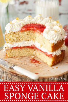 Easy Vanilla Sponge Cake is a recipe staple every baker needs. This version is as light and fluffy as any quality sponge cake should be. Healthy Cake Recipes, Homemade Cake Recipes, Sweets Recipes, Delicious Desserts, Yummy Recipes, Easy Sponge Cake Recipe, Sponge Cake Recipes, Dump Cake Recipes, Cupcake Cakes