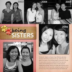 Very cute and simple scrapbook layout cousins and friends