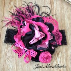 Pink and black couture headband by JustAloraBeths on Etsy, $25.00