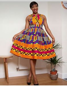 African print dresses can be styled in many ways,you can have your kitenge fabric designed that t h...