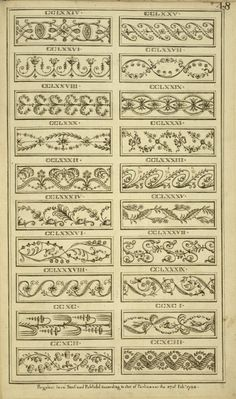Designs on various ornaments.