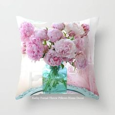 Peonies In Aqua Vase Vintage Romantic Peony Bedroom Decor Throw Pillow by Kathy Fornal - Cover x with pillow insert - Throw Cushions, Designer Throw Pillows, Decorative Throw Pillows, Nursery Room Decor, Bedroom Decor, Girl Nursery, Shabby Chic Cottage, Shabby Chic Decor, Aqua Decor