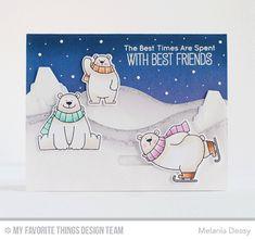 Handmade card from Melania Deasy featuring Birdie Brown Polar Bear Pals stamp sets and Die-namics, Birdie Brown Iceberg, Snow Drifts, Snowfall - Horizontal, and Interactive Birthday Cake Die-namics #mftstamps