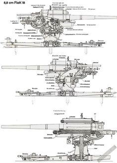 Technical schematics of the German Flak/Anti-tank gun Military Weapons, Military Art, Military History, Army Vehicles, Armored Vehicles, Afrika Corps, Military Modelling, Ww2 Tanks, Big Guns