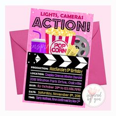 Perfect for a birthday party being hosted at the movies or at home! Lights Camera Action, Light Camera, Cinema Theatre, Movie Theater, Purple Invitations, Birthday Invitations, Movie Party, Personalized Invitations, Cinema