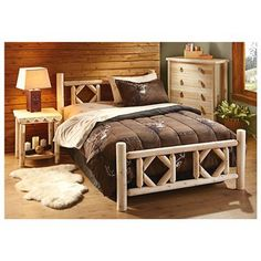 CASTLECREEK Diamond Cedar Log Bed, Twin
