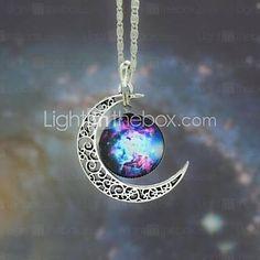 galáxia estrela pingente de pedra da lua colar das mulheres -