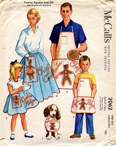 Family Aprons and Bib - with Gingerbread Appliques    1952
