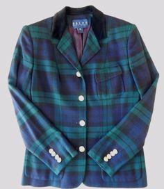 Sz 10 Ralph Ralph Lauren Blue Green Black Plaid Blazer Velvet Collar Gold Button #RalphLauren #BasicJacket