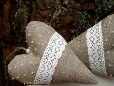 burlap and lace hearts ... burlap, lace, beads ... gorgeous burlap hearts