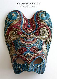 papier mache, sculpture, tempera, acrylic, oil, lacquer, patina,  interior mask.