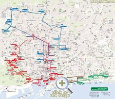 City Sightseeing hop on hop off bus tour Red Blue Green turistic routes Barcelona top tourist attractions map