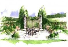 Watercolour of show garden designed by Paul Martin for Hampton Court Flower Show 2015 Sponsored by Vestra Wealth