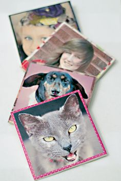 Fun and easy photo coasters!    If you have ceramic tiles, mod podge, and some pictures you're good to go! Step by step directions here: http://eleanorseats.com/2012/02/29/diy-photo-coasters/