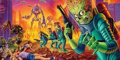 Artwork by Ed Repka Mars Attacks, Tim Burton, Alien Pictures, Fb Covers, Love Movie, Drama Movies, Me Me Me Anime, Game Design, Pop Culture