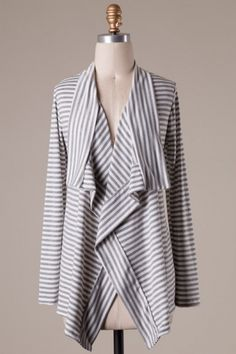 Long sleeve stripe detailed asymmetrical cardigan