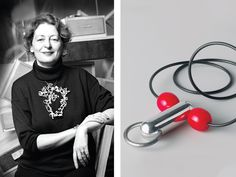 (left) Marjan Unger wearing Sketch for Sleeping Beauty II necklace by Robert Smit, 1990, photo: Michaël Ferron Photo/Rijksmuseum, Amsterdam, Marjan and Gerard Unger Collection; (right) Paul Derrez, Face, 1994, plastic, aluminum, rubber, 70 x 60 x 25 mm, Rijksmuseum, Unger Collection, photo: Rijksmuseum