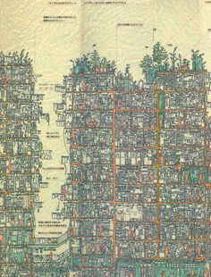 View a full-resolution version of the map. The Kowloon Walled City in Hong Kong was built gradually—building on top of building—over time. Without a single architect, the ungoverned and most densely populated district became a haven for drugs, crime and prostitution until it was demolis