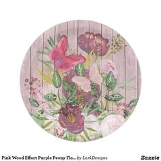 Pink Wood Effect Purple Peony Floral Bouquet