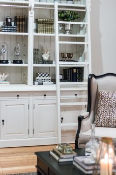 Bookcase accessories and styling by Cape Cod Residential