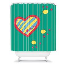 Isa Zapata Trukas Heart Shower Curtain #stripes #heart #bath #bathroom