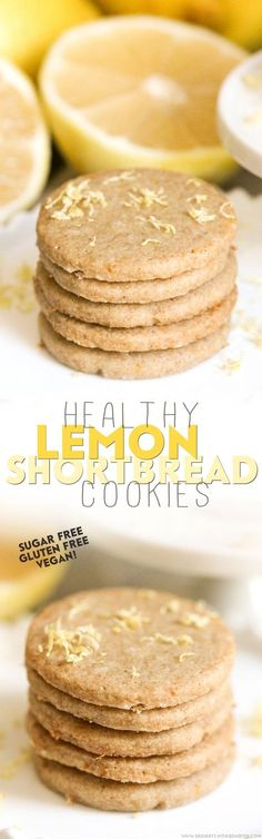 Healthy Lemon Shortbread Cookies made sugar free, gluten free, dairy free, and vegan! They're simple, sweet, buttery, and SO so delicious!