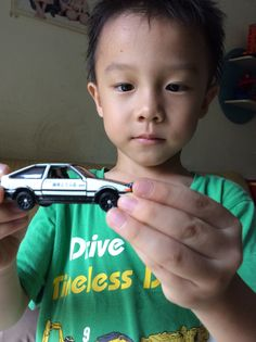 Peter look at the toy car.