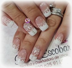 Uñas Henna Nails, Lace Nails, Gel Nails, Acrylic Nails, Bridal Nail Art, Bride Nails, French Nail Designs, Wedding Nails Design, Luxury Nails