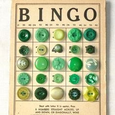 Use one of my vintage BINGO cards and attach assorted green buttons from my button jar into the spaces. Display with the green flower frog under a cloche, on the jadeite plate. Vintage Crafts, Vintage Sewing, Vintage Clothing, Button Cards, Button Button, Pot Pourri, Coin Couture, Passementerie, Bingo Cards
