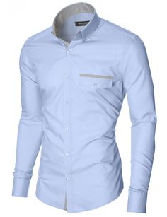 MODERNO Mens Slim Fit Casual Button-Down Shirt (MOD1413LS) Sky. FREE worldwide shipping! 30 days return policy