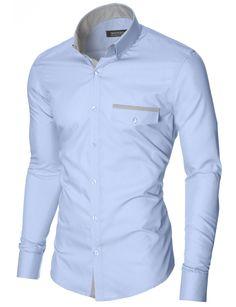 MODERNO Slim Fit Freizeit Herrenhemd (MOD1413LS) Himmelblau