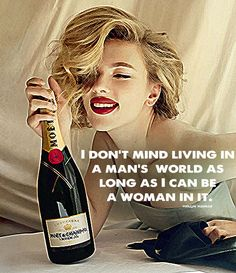 Scarlett Johansson - Marlyn Monroe Quote http://wordswithart.com/portfolio/i-dont-mind-living-in-a-mans-world/