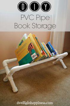 entrelazar lana de un lado al otro hasta formar especie de tejido...  diy pvc pipe book storage, bedroom ideas, crafts, diy, organizing, storage ideas