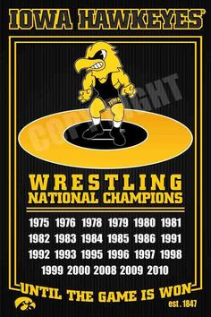 Iowa Hawkeyes Wrestling Dynasty Photo Framed