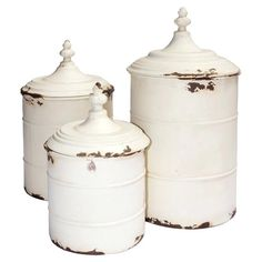 Merveilleux Set Of 3 Metal Canisters In Antique White. Product: Small, Medium And Large  CanisterConstruction Material: MetalColor: Antique WhiteDimensions: H X  Diameter ...