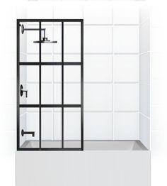 glass tub door with steel grid …