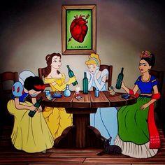 Disney Princesses and Frida Kalo heartborken