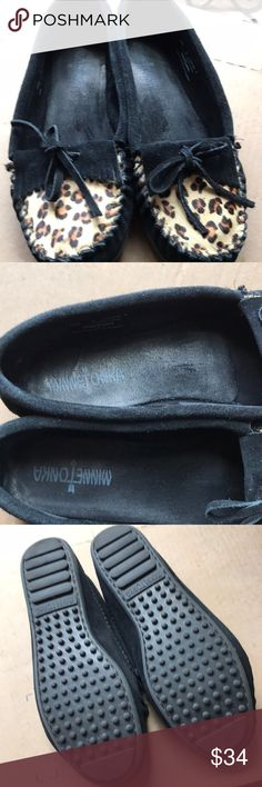 Minnetonka Calf Hair Moccasins Black suede and calf hair upper. Excellent used condition. Only worn a few times. Minnetonka Shoes Moccasins