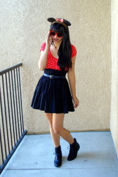 Discover this look wearing Black Ankle Boots Forever 21 Shoes, Red Heart Sunglasses, Black H&M Skirts tagged outfit inspiration - Minnie halloween. by inspirafashion styled for Classic, Holiday Party in the Fall Cute Halloween Costumes, Halloween Looks, Diy Costumes, Adult Costumes, Halloween Ideas, Minnie Mouse Skirt, Minnie Mouse Headband, Minnie Mouse Costume, Homecoming Week