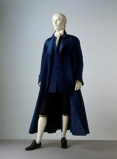 Men's nightgown, circa 1780-1820. This nightgown is an example of one type of informal clothing worn by men in the 18th century. Nightgowns were worn over shirt and breeches, in the privacy of home before noon or late at night. They first appear in the male wardrobe in the mid-17th century, inspired by the kimonos given by the Japanese shoguns to the directors of the Dutch East India Company.