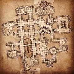 Plan de mine ou de galeries souterraines.