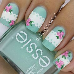 Take a look at the best nail art templates in the pictures below and choose … - Nails Ideas & Nails Diy Lace Nails, Flower Nails, Gorgeous Nails, Pretty Nails, Shabby Chic Nails, Nailart, Vintage Nails, Floral Nail Art, Nail Swag