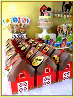 Barn favor boxes at a farm birthday party! See more party ideas at CatchMyParty.com!
