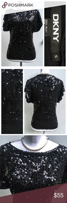 DKNY Bkack Silk Sequin Sweater, small Short sleeve 100% silk top with criss cross sequins all over. High quality and beautiful! Size small. In excellent pre-owned condition!  🎀Search my closet for your size 🎀BUNDLE and SAVE! 🎀REASONABLE offers WELCOME 🎀NO TRADES NO HOLDS 🎀Thank you for stopping by!❤️ DKNY Tops Blouses