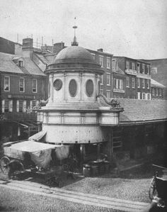 c. 1859 photo of the Market St. stalls from Front St.