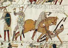 Bayeux Tapestry; an embroidered cloth depicting events of the Norman conquest of England, culminating with the Battle of Hastings in 1066.