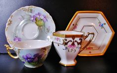 J. Pouyat Limoges 1895 & Pickard China 1918 Hand Painted Demitasse Cups