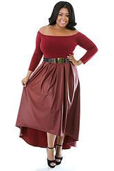 Burgundy Long Sleeve Leather Maxi Dress(Plus Size)